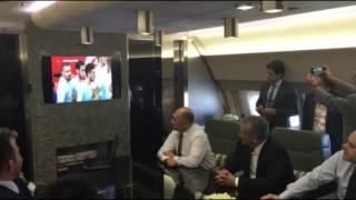 Milli maçı izleyen Cumhurbaşkanı Erdoğan'ın gol sevinci