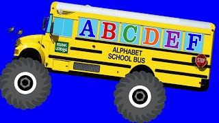 Monster Truck School Buses Teaching ABCs & Crushing Letters - Learning Alphabet Video for Kids