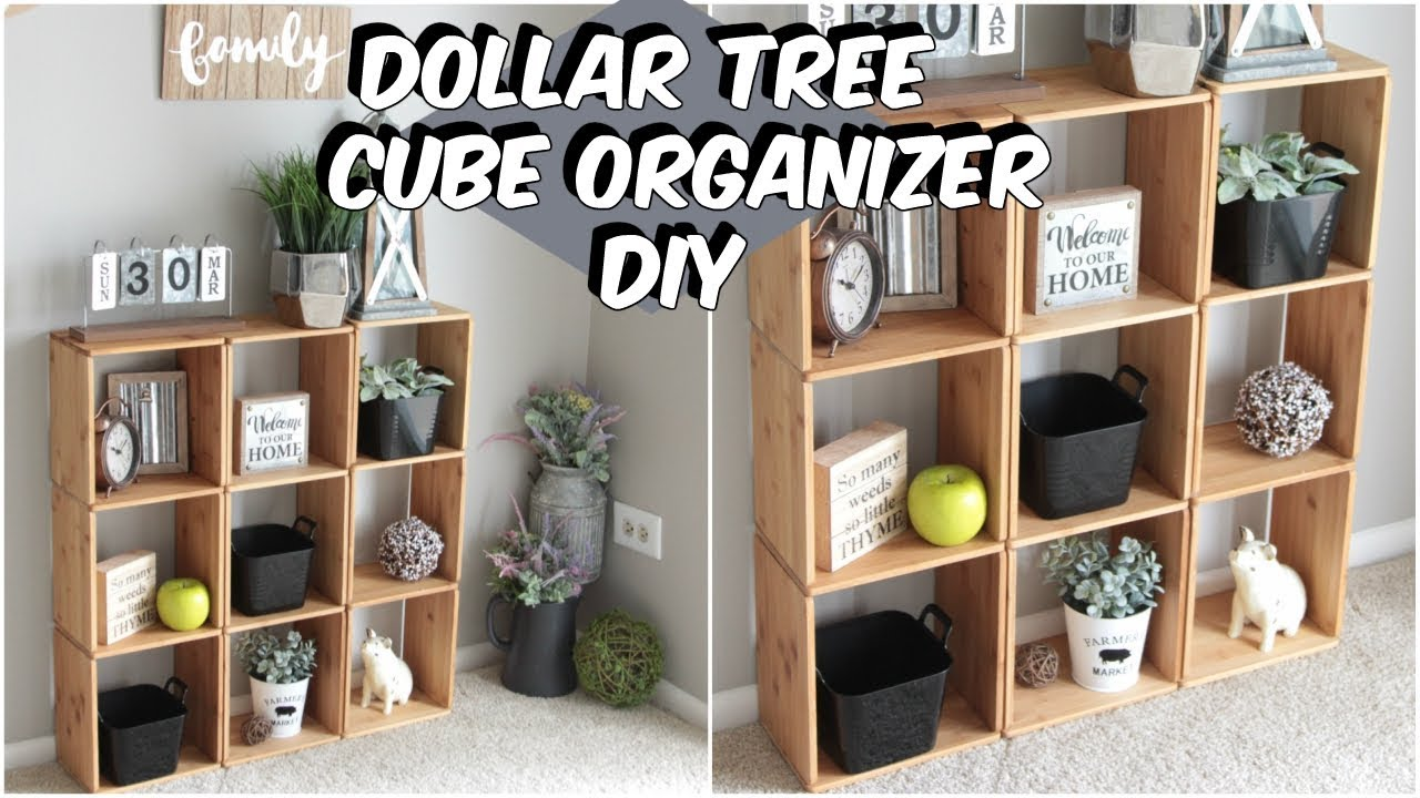DOLLAR TREE WOOD CUBE ORGANIZER DIY