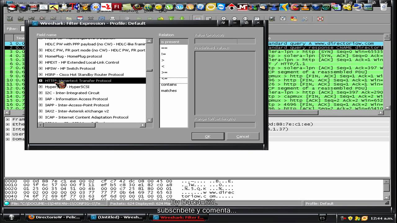 capturar ID y password con Wireshark - ViYoutube