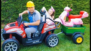 Kid Ride on Toy Car & on the Road Motorcycle Funny video from Öykü and Father