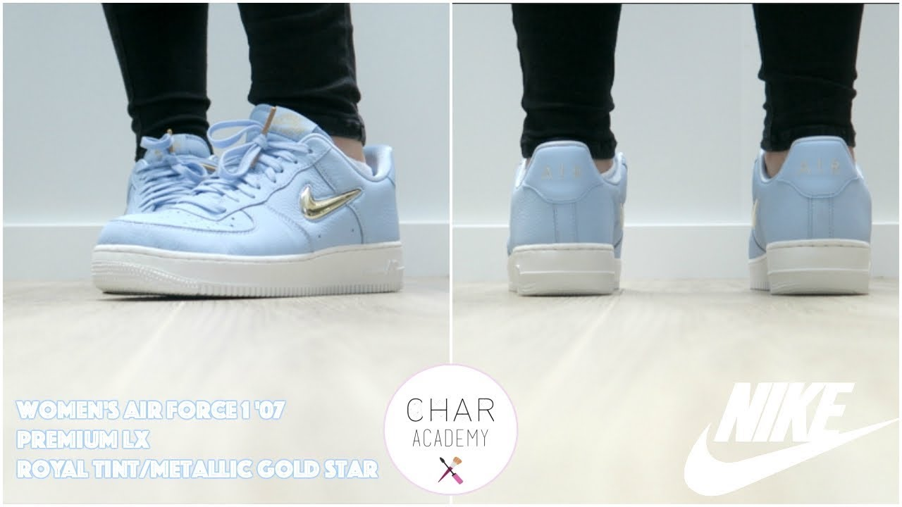 40eac2336b NIKE UNBOXING Women's Air Force 1 '07 Premium LX Royal Tint/Metallic Gold  Star | Characademy