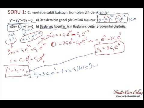 Diferansiyel Denklemler 9. Ders - Mükemmel Anlatım