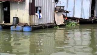 Floating Houses in Dong Nai river, HCM City, Vietnam