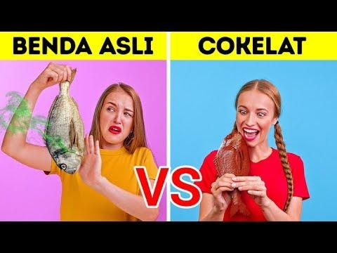TANTANGAN BENDA ASLI VS COKELAT || Perang Lelucon Oleh Tantangan 123 GO!