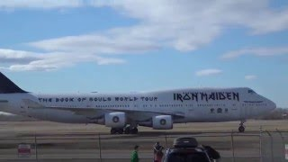 IRON MAIDEN'S ED FORCE ONE BOEING 747 arriving at Edmonton International Airport April 7th, 2016