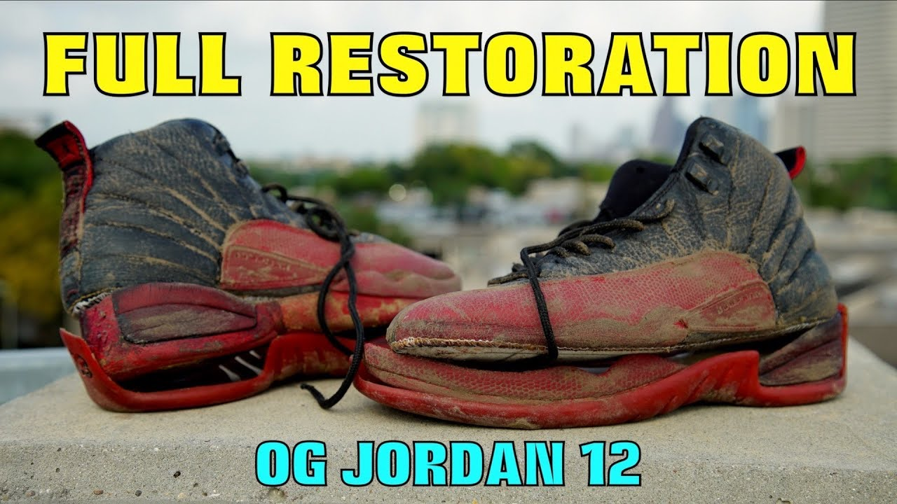 71a6cbdba19 OG JORDAN 12 FULL RESTORATION!! (FOUND IN TRASH) - YouTube
