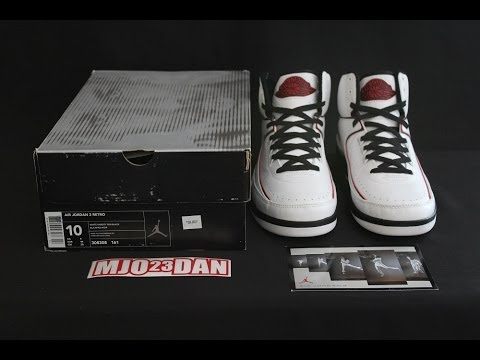 The 2004 Retro Air Jordan II 2 White Varsity Red-Black - YouTube c13183f80