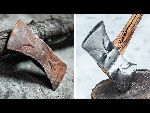RESTORING A RUSTY DOUBLE BLADED AXE!