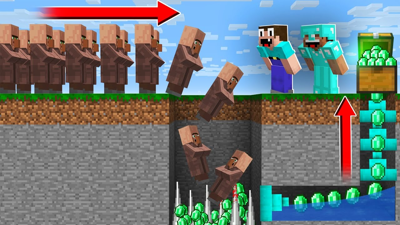 THE BEST WAY TO STEAL VILLAGERS EMERALDS! in Minecraft Noob vs Pro