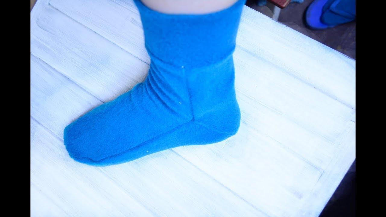 Как сшить носки из флиса / выкройка - YouTube