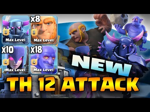 New TH12 Attack Strategy! Max Pekka+10 Witch+18 Bowler+8 Giant Power full 3Star 3 inferno TH12 Base
