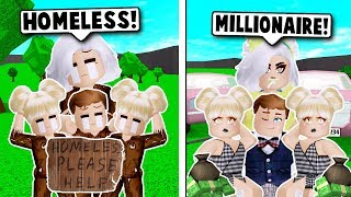 WE WERE HOMELESS UNTIL WE WON THE LOTTERY ON BLOXBURG! (Roblox)