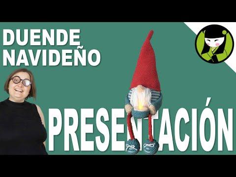 Presentacion duende navideño amigurumi,  sujeta velas a crocret