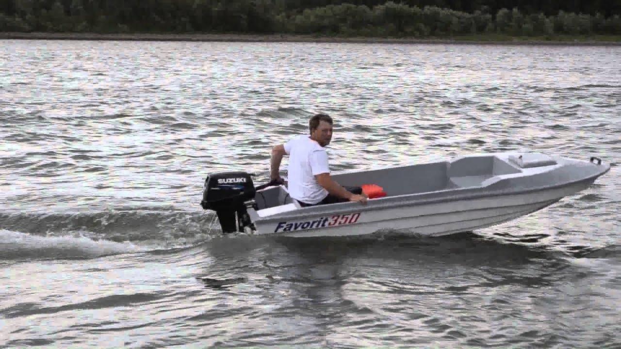 Стеклопластиковая лодка Favorit 350 - YouTube
