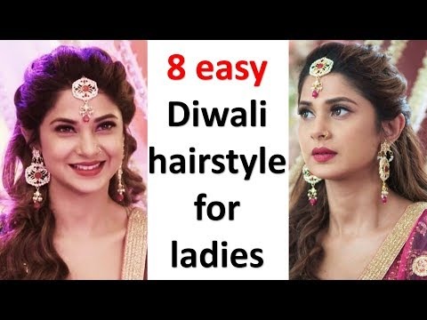 8 easy and beautiful hairstyles for diwali || diwali special hairstyle || hairstyle for diwali thumbnail