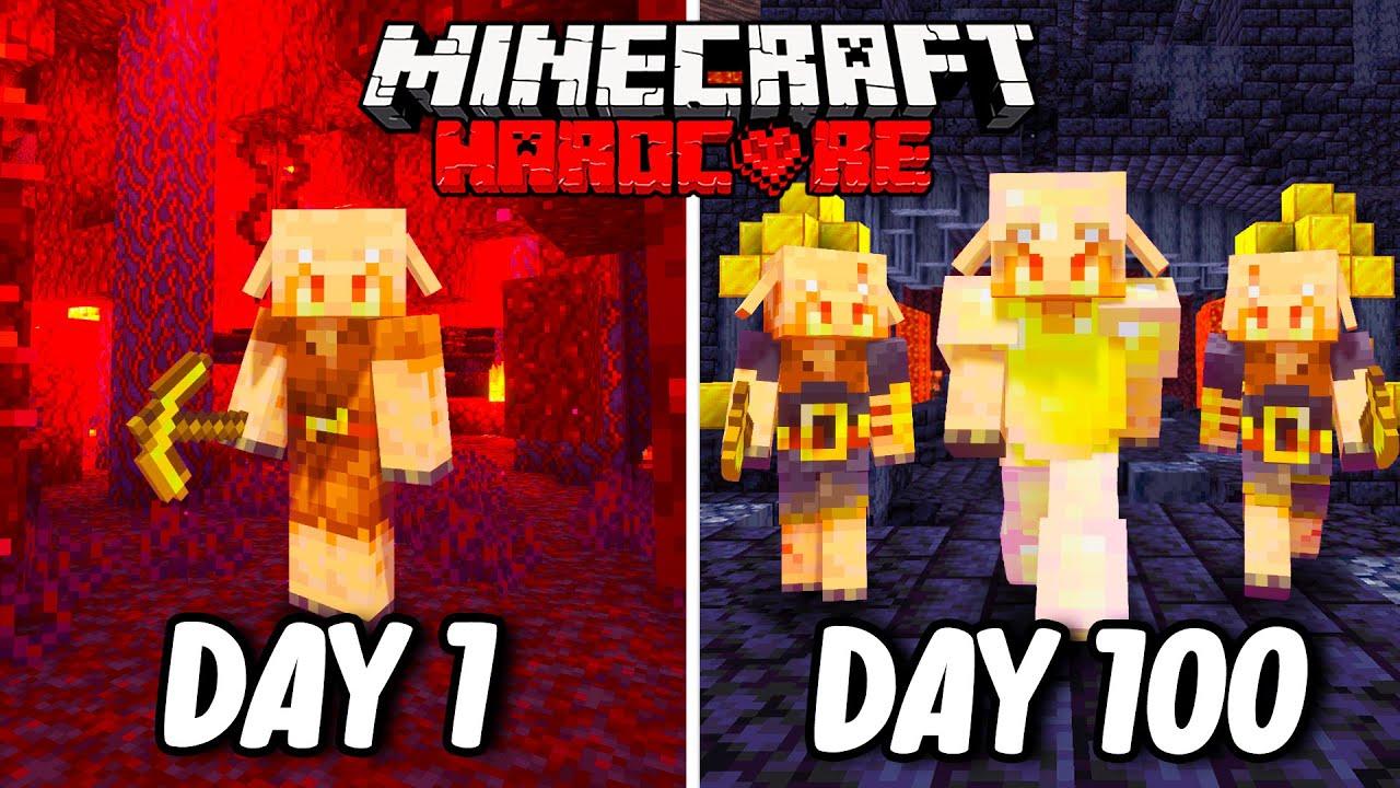I Survived 100 Days as a PIGLIN in Hardcore Minecraft... Minecraft Hardcore 100 Days