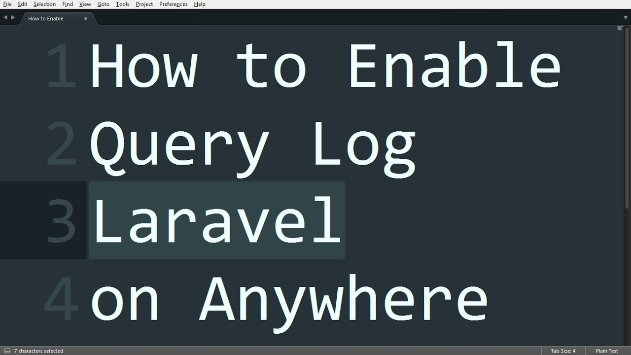 How to Enable Query Log Laravel on Anywhere