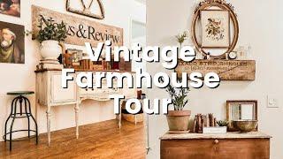 Vintage Farmhouse Style Home Tour | Antique Farmhouse Thrifty Decorating Ideas |