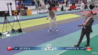 2018 1234 T128 M F Individual Halle GER European Cadet Circuit BLUE SECER TUR vs KAPPUS GER