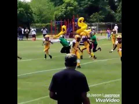Jabari Jones does a Dwight Freeney spin move on a O lineman from the Winston Salem Indians