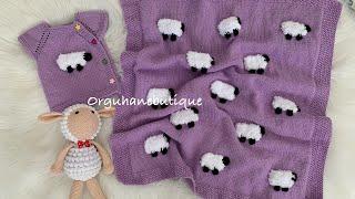 kuzulu battaniye yapımı - pirinç örgü anlatımı- kenar ilmekler nasıl düzgün olur - lamb blanket
