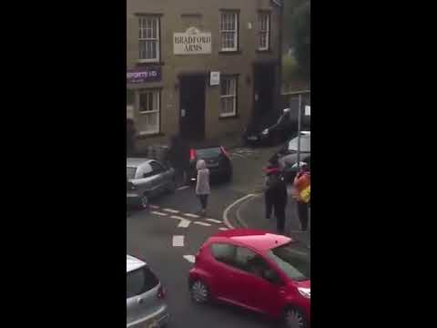 fight bradford outside job centre pakistani vs blackman