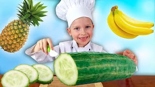 Roma playing with Toys Fruits & Learn Names of Vegetables and Fruits by iFinger