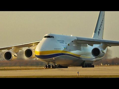 Antonov An-124 Landing at Leipzig/Halle Airport (Germany)