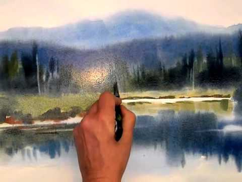 Adirondack landscape in watercolor by Sarah Yeoman