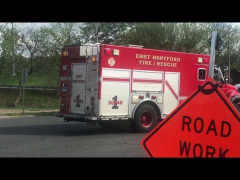 East Hartford Fire Department Squad 1 Responding With Whelen, Q2B & Air Horns!
