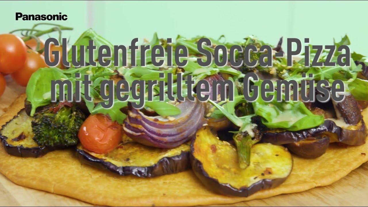 Socca Pizza mit Harissa Gemüse   Vegan & Glutenfrei