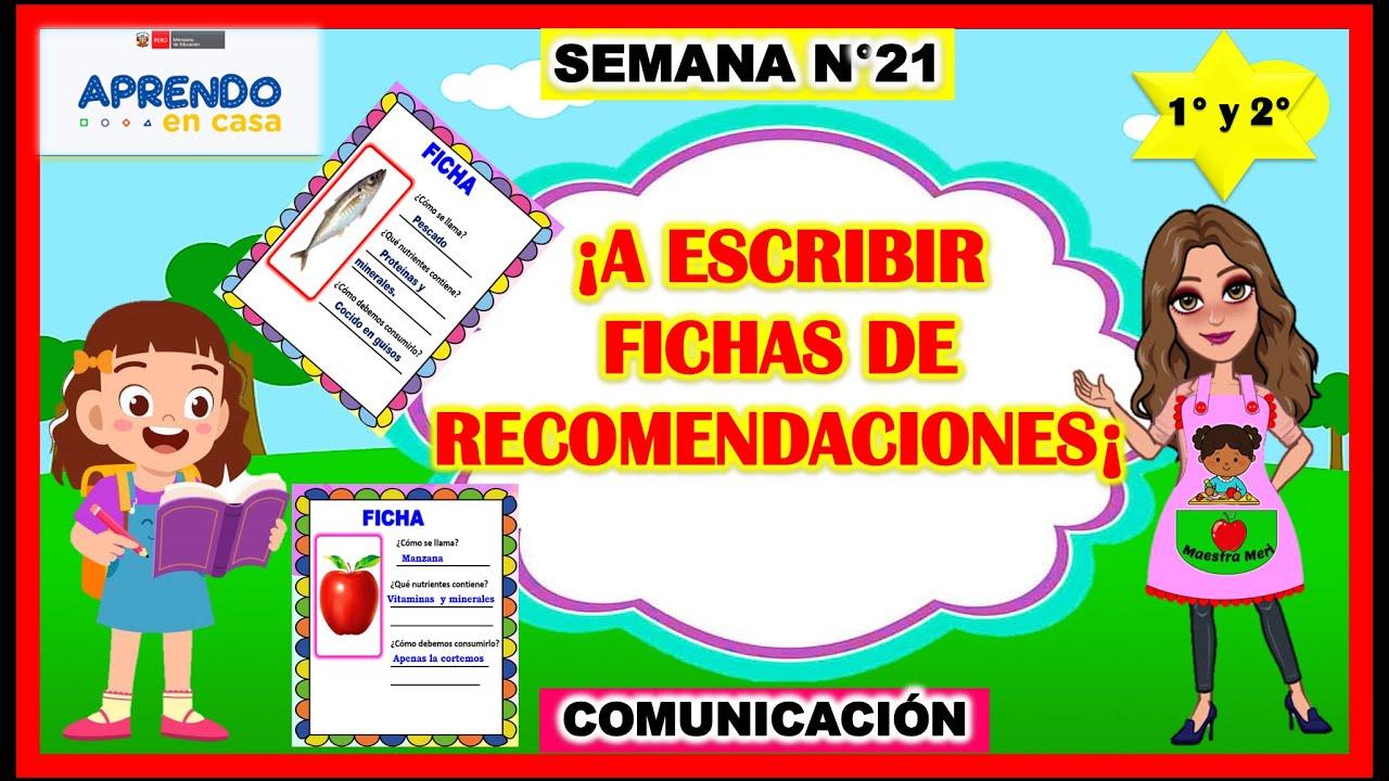 ¡A ESCRIBIR FICHAS DE RECOMENDACIONES¡ APRENDO EN CASA - 1° Y 2° - 14 DE SETIEMBRE - download from YouTube for free