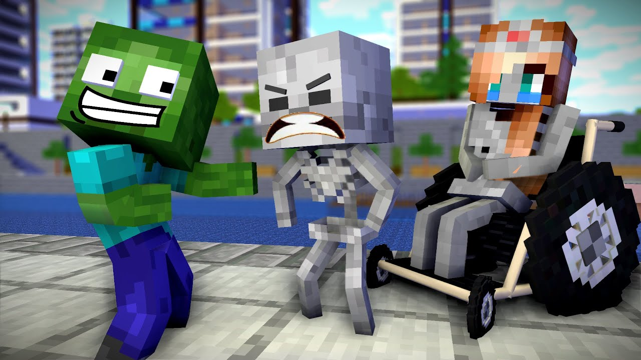 Monster School Poor Skeleton Family   Mother Can't Walk   Sad Story   Minecraft Animation