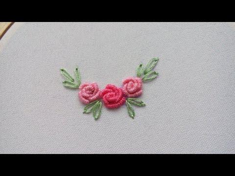 Вышивка розочка в стиле рококо