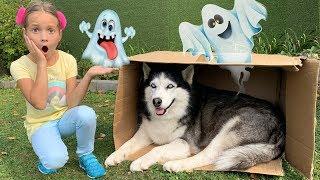 Sofia buys A new Toy house for the Dog / Софія знайшла Собаку і купує їй Новий Ігровий будиночок