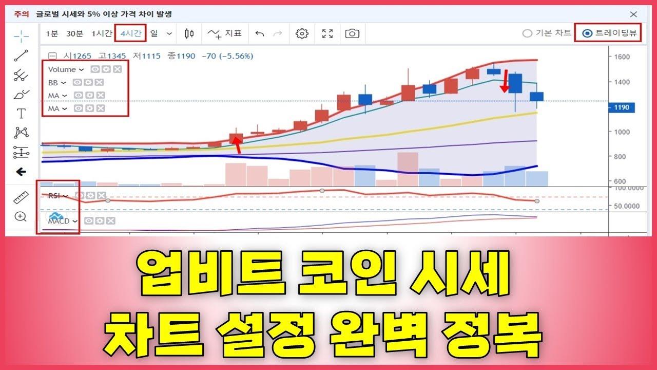 업비트 코인 차트 설정 -  볼린저밴드, RSI, MACD, 4시간 봉차트