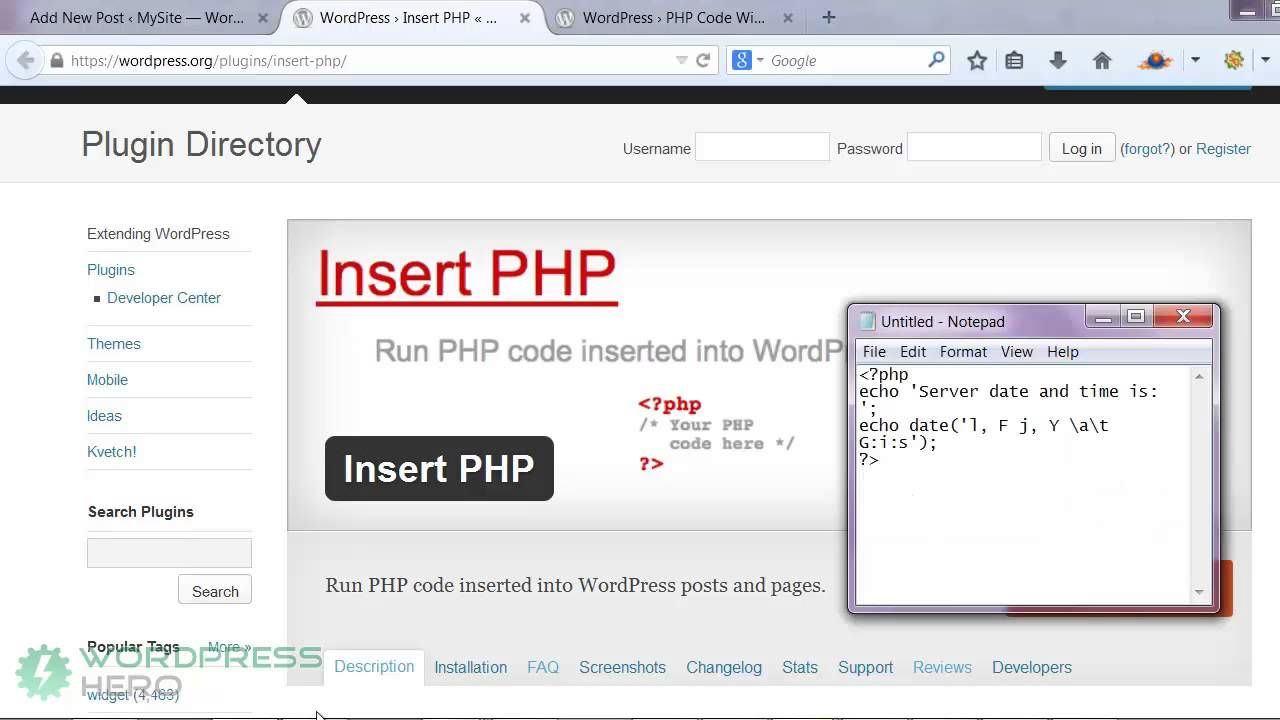 how to add a php code to your wordpress posts, pages and widgets  how to add a php code to your wordpress posts, pages and widgets youtube