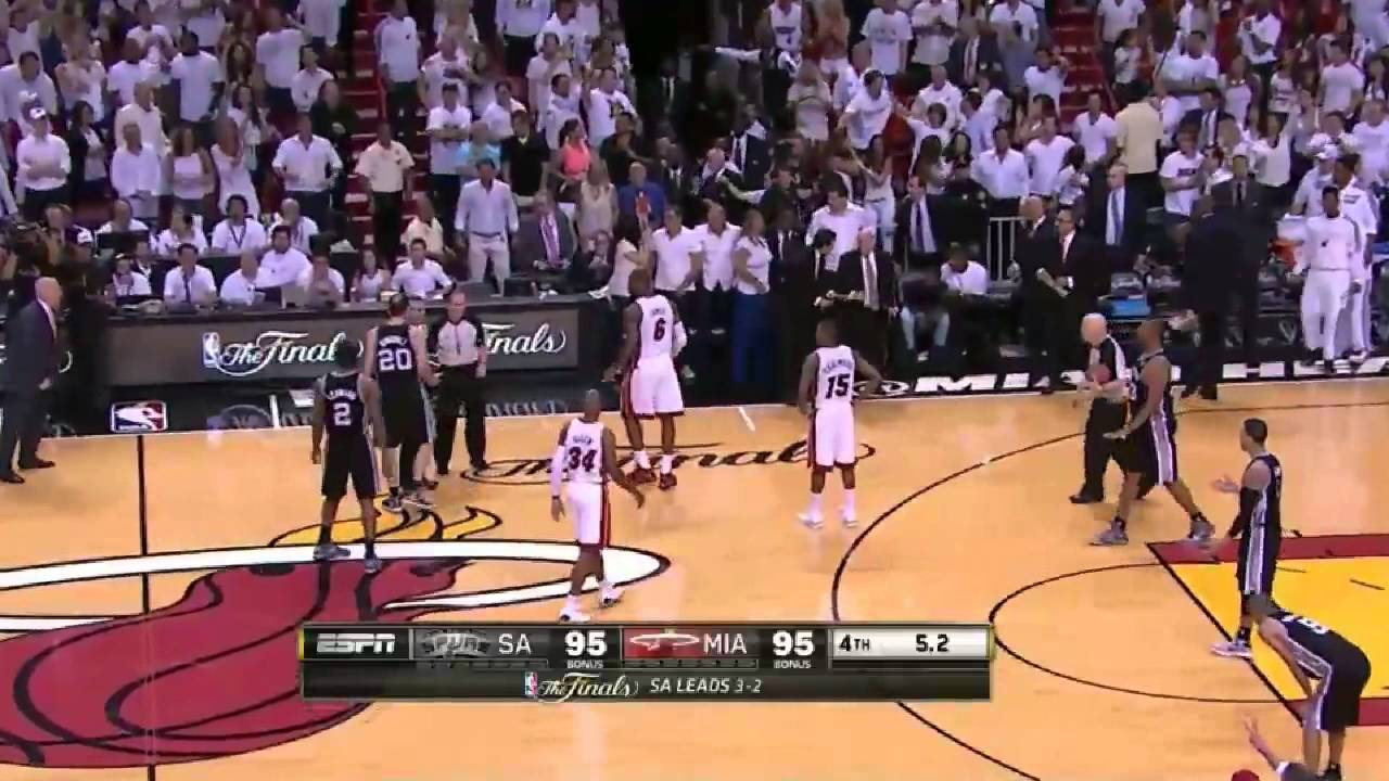 Ray Allen clutch 3-pointer sends game 6 to overtime (2013 NBA Finals, Heat vs Spurs) - YouTube