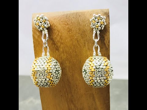 Silver & Gold beaded bead & post earrings