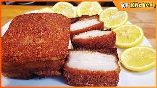Cách Làm THỊT HEO CHIÊN GIÒN RỤM Bán Bánh Mì - Da Heo Giòn Tan - Crispy Pork Belly Recipe - ENG CAP