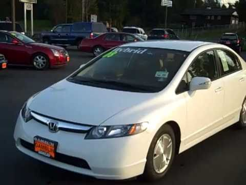 2008 Honda Civic Hybrid White Art Gamblin Motors Chris Streuli V2037a