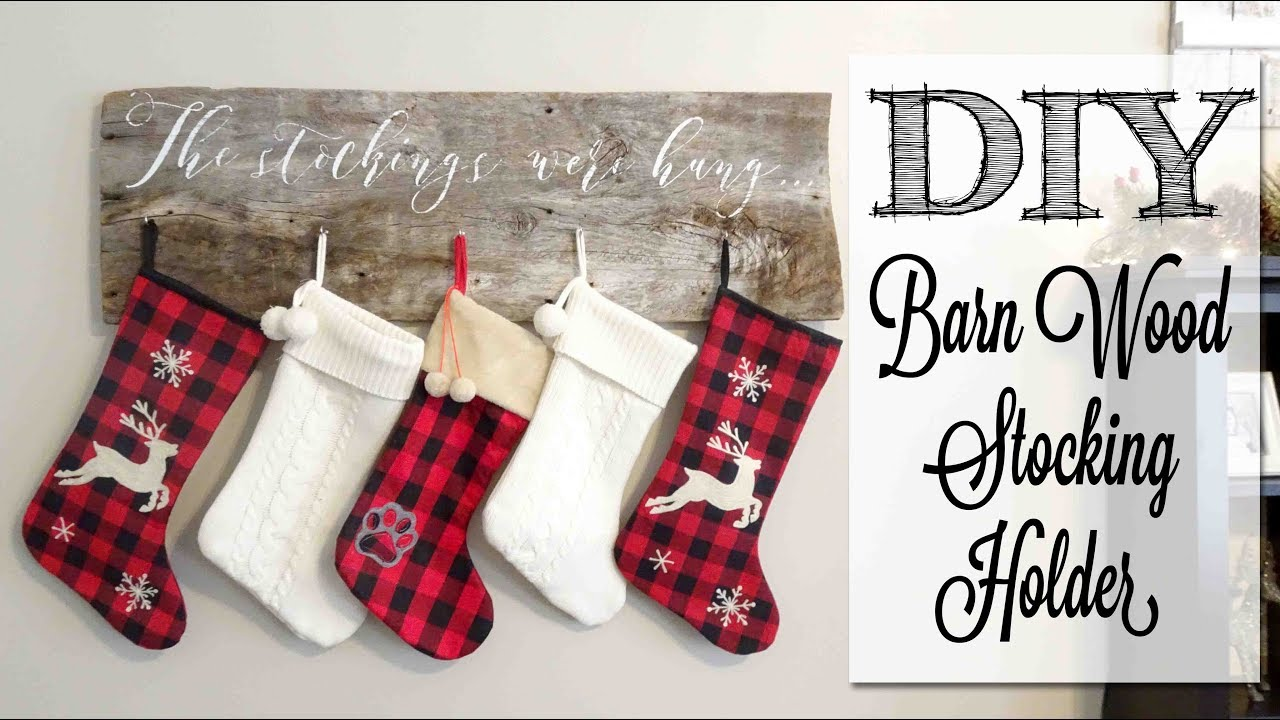 Christmas Stocking Hanger.Diy Barn Wood Stocking Holder