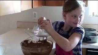 Little Girl's Diy Chocolate Pumpkin 3-tier Cake