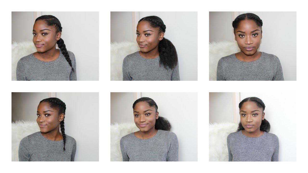 6 Protective Natural Hairstyles On Medium Long Hair Youtube