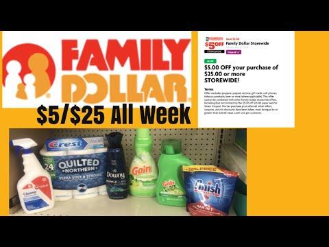 Family Dollar $5/$25 For 9-15 Thru 9-21 All Week Long