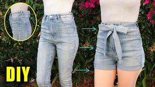 DIY DENIM SHORTS FROM OLD JEANS - Downsizing the waist! || Lucykiins