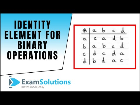 Identity element for binary operations : ExamSolutions Maths Revision