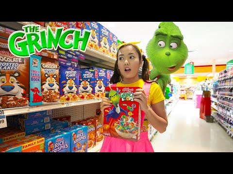 """The Grinch Cereal Shopping at Supermarket Toys """"R"""" Us with Paw Patrol & Ellie Sparkles In Real Life"""