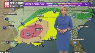 Severe weather moving into Georgia on Sunday